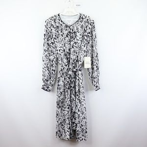 New Vintage Button Floral Print Dress Black White